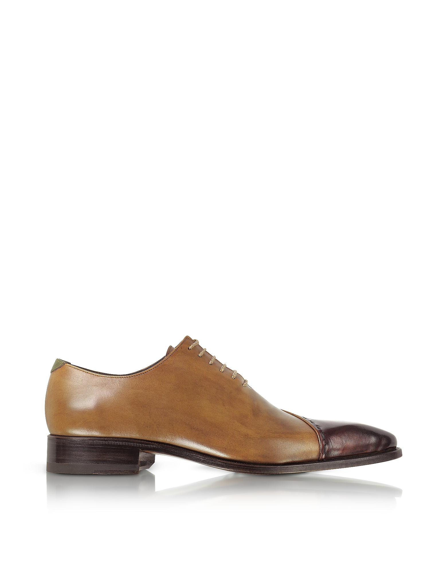 Forzieri Shoes, Brown Italian Handcrafted Leather Cap Toe Dress Shoes