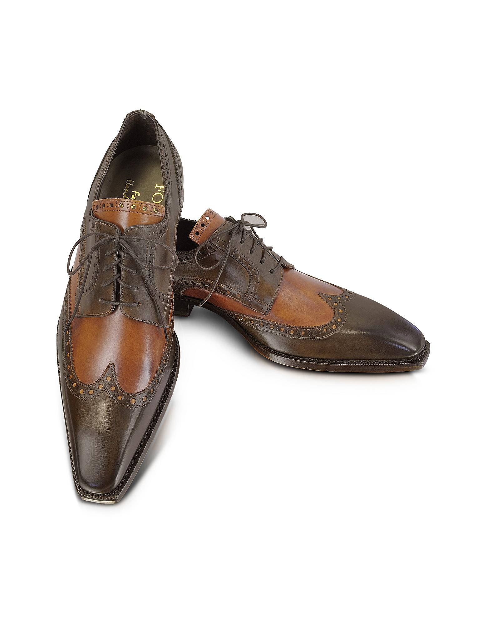 Итальянские Двухцветные Кожаные Оксфордские Туфли, Изготовленные Вручную