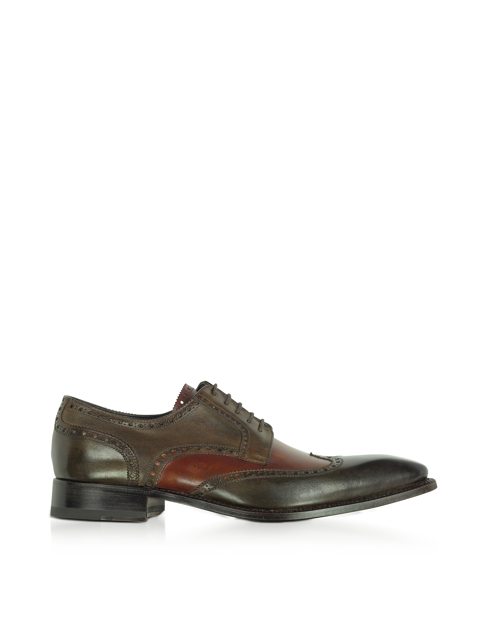 Forzieri Shoes, Two-Tone Italian Handcrafted Leather Wingtip Oxford Shoes
