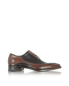 Dark Brown Italian Handcrafted Leather Oxford Shoes - Forzieri