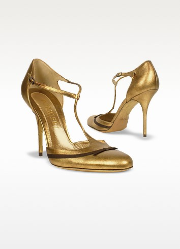 T-strap Gold Metallic Leather Evening Pump Shoes - Forzieri