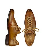 Lux-ID 208069 Men's Brown Handmade Italian Leather Lace-up Shoes