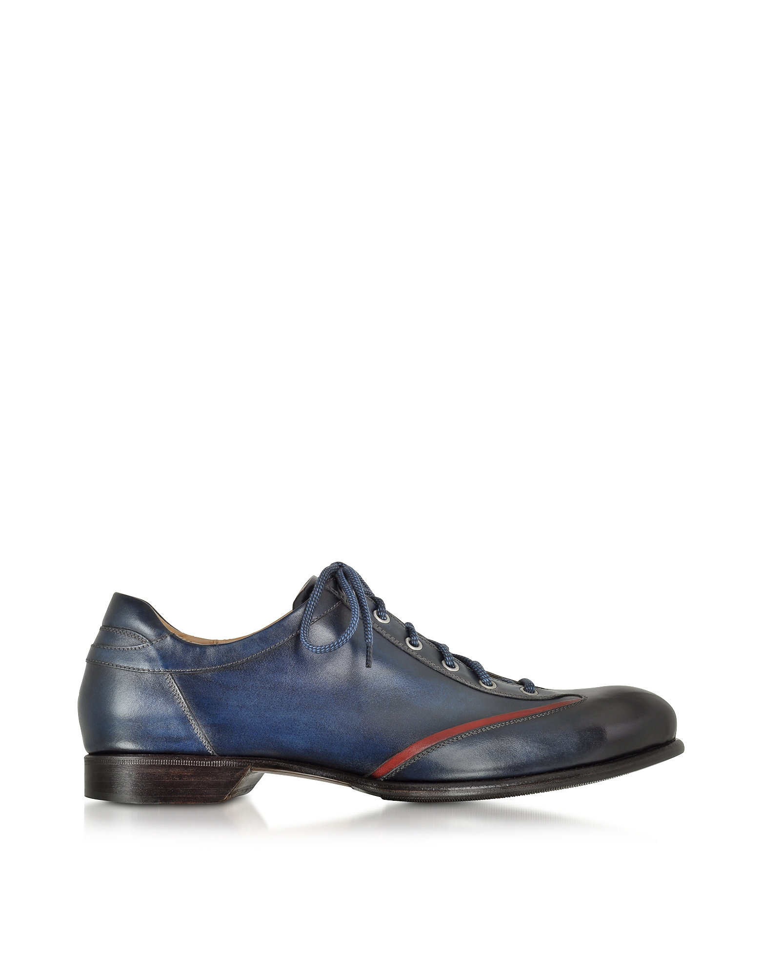 Forzieri Shoes, Men's Blue Handmade Italian Leather Lace-up Shoes