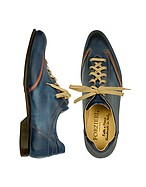 Lux-ID 206754 Men's Blue Handmade Italian Leather Lace-up Shoes
