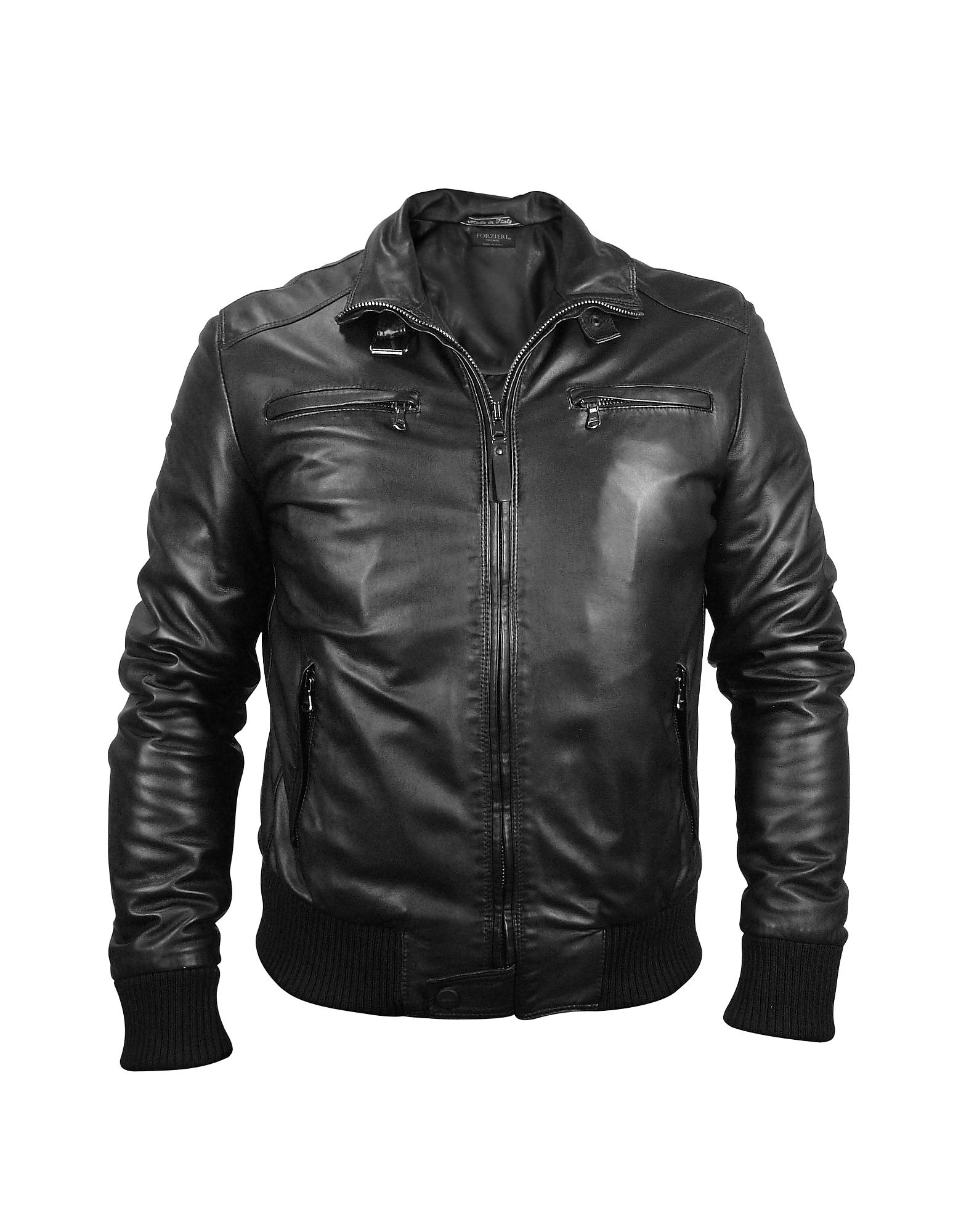 Мужская Черная Кожаная Куртка в Мото Стиле