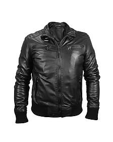 Мужская Черная Кожаная Куртка в Мото Стиле - Forzieri