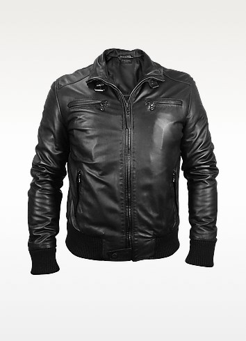 Men's Black Leather Motorcycle Jacket - Forzieri