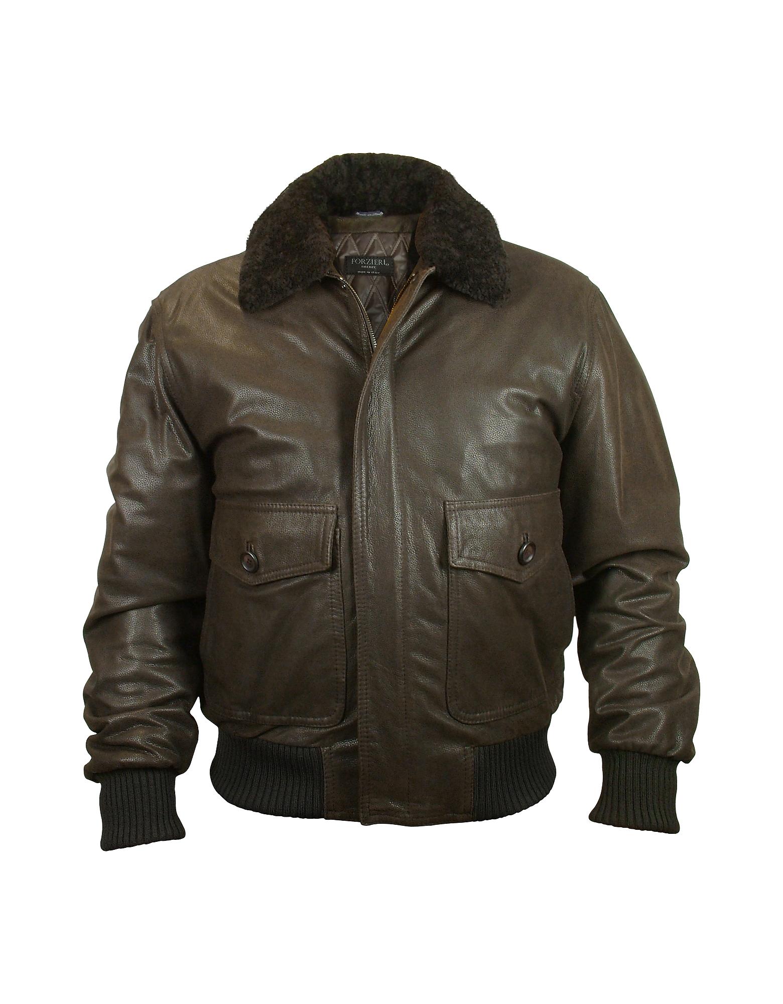 Темно-коричневая Мужская Куртка из Лайки с Двумя Карманами и Меховым Воротом