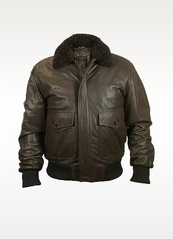 Forzieri Темно-коричневая Мужская Куртка из Лайки с Двумя Карманами и Меховым Воротом