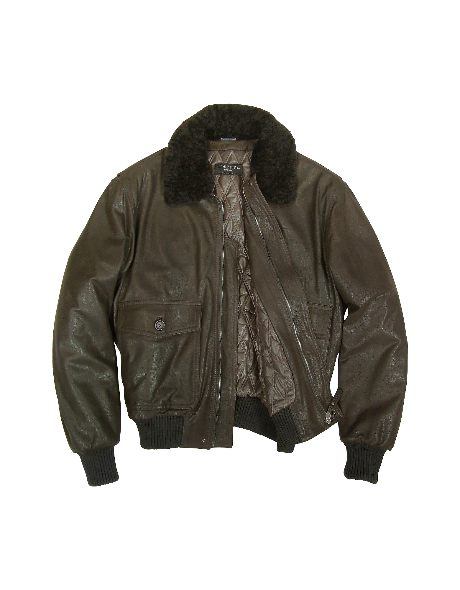 Men's Dark Brown Chevrette Two-Pocket Jacket w/Fur Collar от Forzieri.com INT