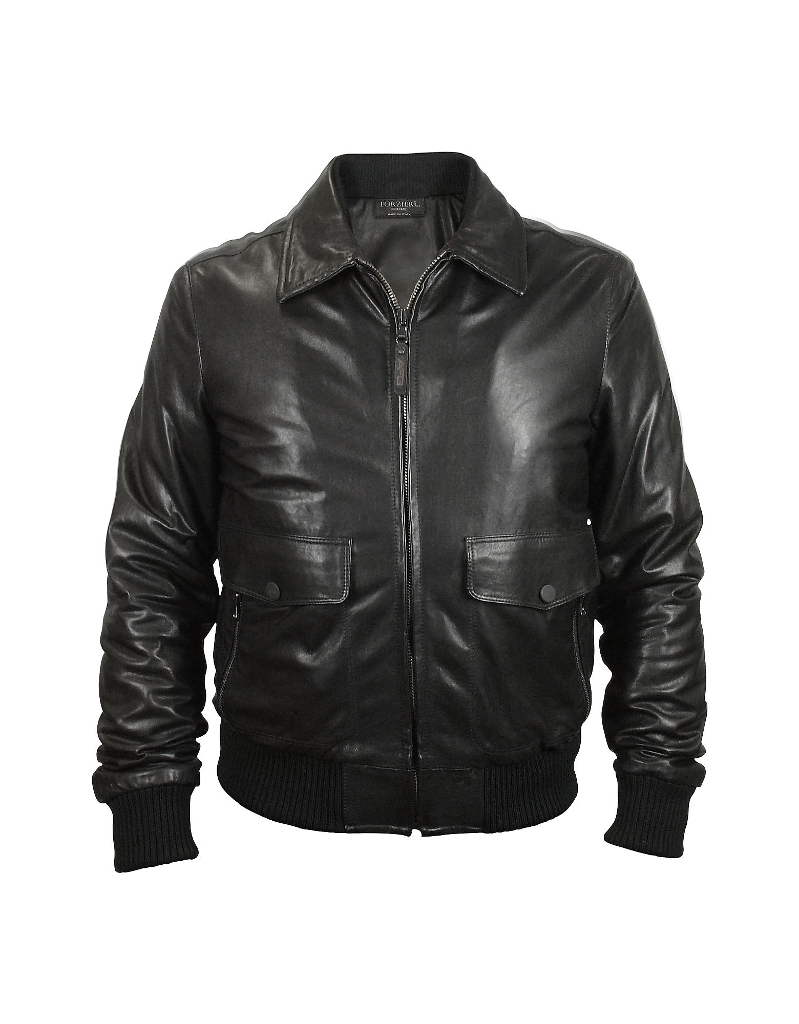 Черная Мужская Кожаная Куртка в Мото Стиле