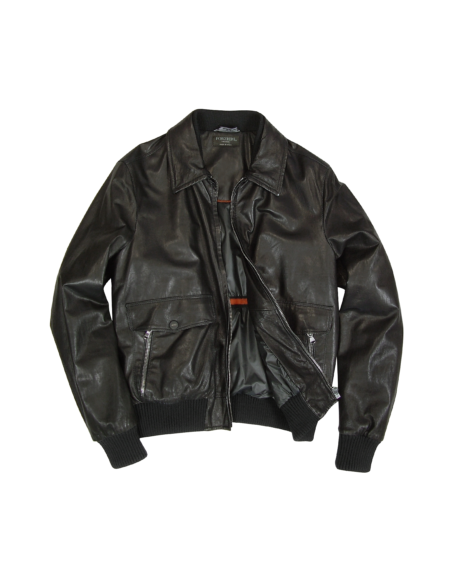 Men's Black Leather Motorcycle Jacket от Forzieri.com INT