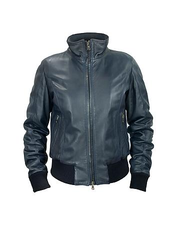 Women's Blue Leather Motorcycle Jacket fz43119-026-00