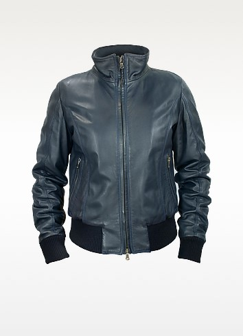 Women's Blue Leather Motorcycle Jacket - Forzieri