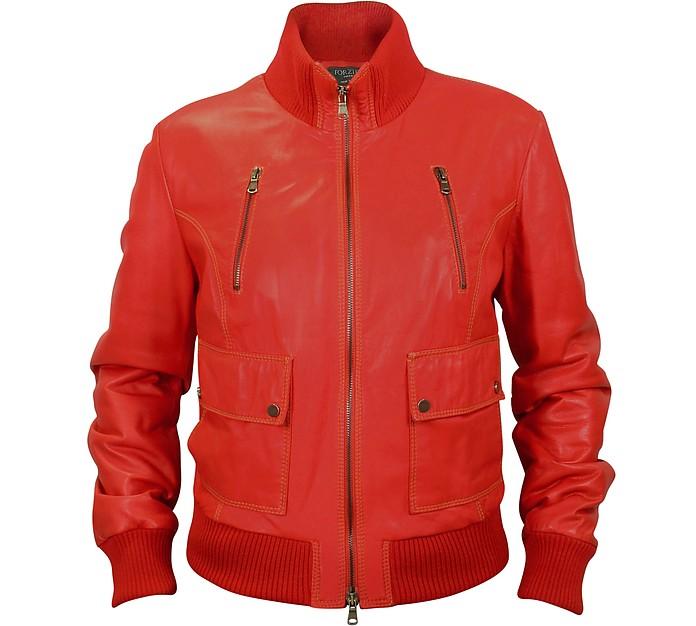 Красная Женская Кожаная Куртка Бомбер - Forzieri