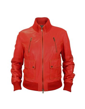 Lux-ID 317136 Women's Red Leather Bomber Jacket
