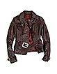 Women's Burgundy Leather Belted Jacket - Forzieri