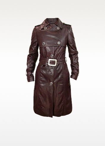 Women's Burgundy Leather Trench Coat - Forzieri