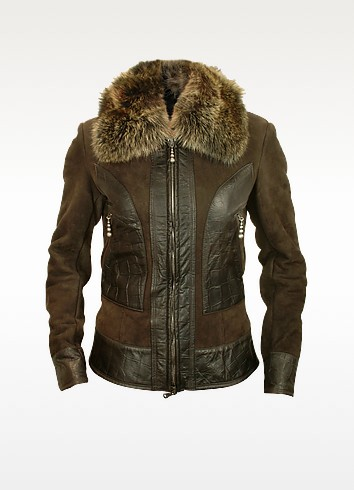 Women's Croco-stamped Trim Shearling Jacket w/fur Collar - Forzieri