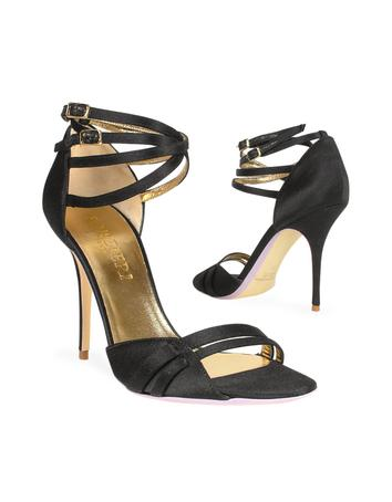 Black Satin dOrsay Ankle-Strap Sandal Shoes Sandal