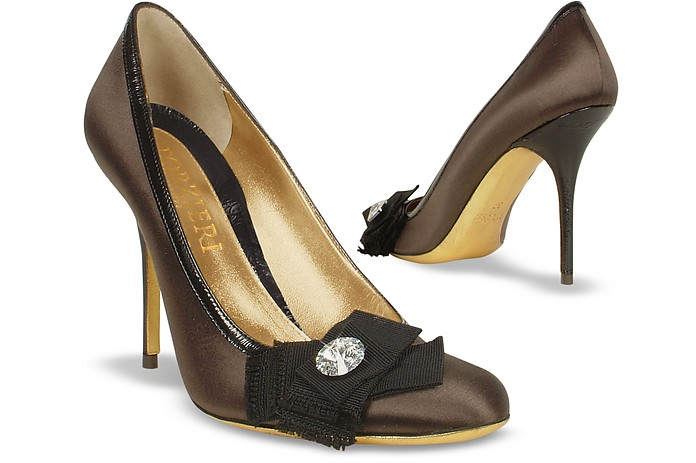 Crystal Bow Satin & Patent Leather Pump - Forzieri