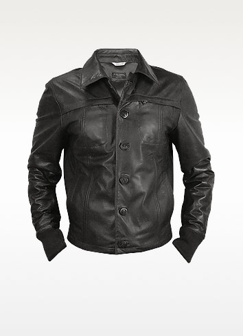 Black Men's Leather Jacket - Forzieri