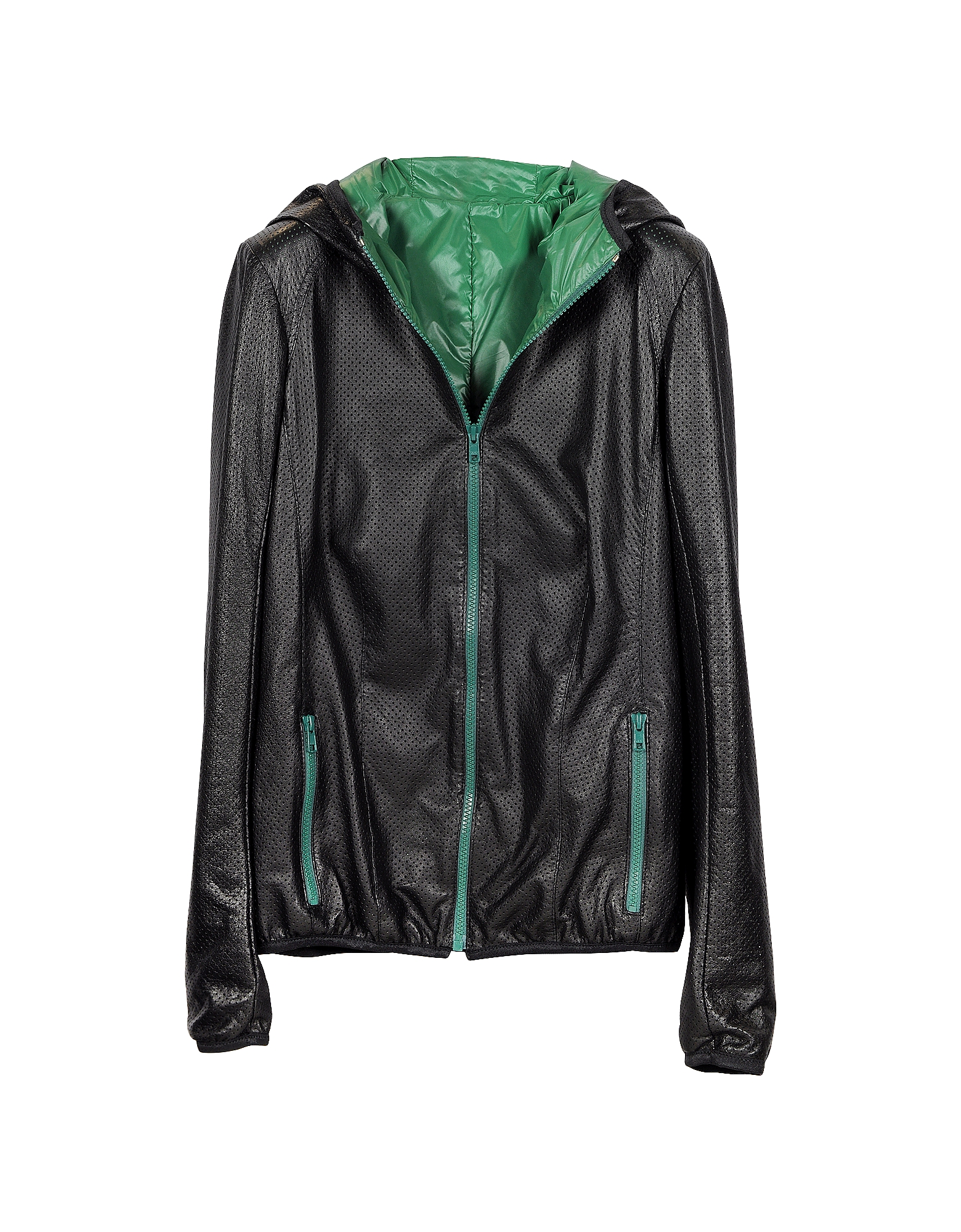 Black Hooded & Perforated Leather Women's Jacket от Forzieri.com INT