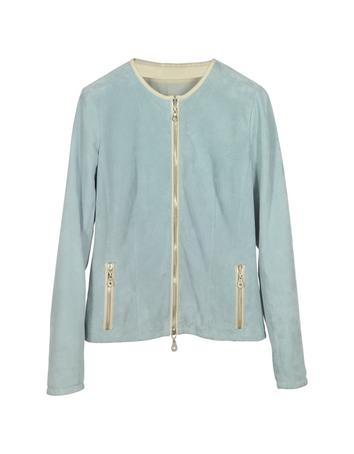 Lux-ID 271579 Light Blue Perforated Suede Women's Jacket