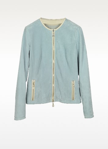 Light Blue Perforated Suede Women's Jacket - Forzieri