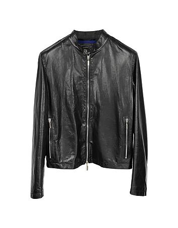 Black Leather Motorcycle Men's Jacket