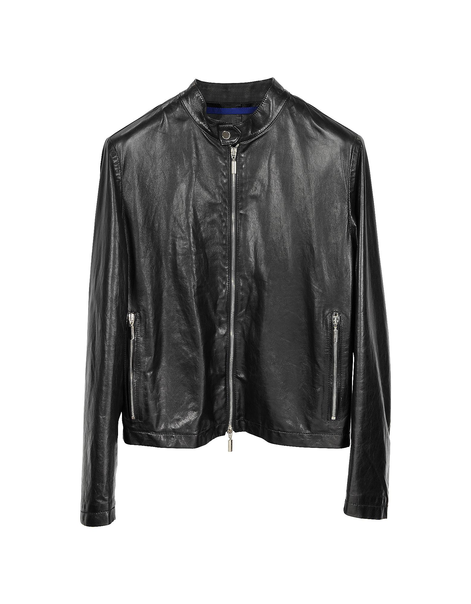 Forzieri Черная Мужская Кожаная Куртка в Мото Стиле