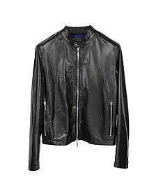 Black Leather Motorcycle Men's Jacket - Forzieri