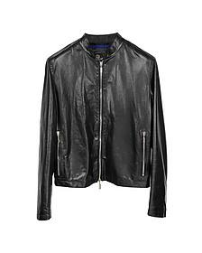 Черная Мужская Кожаная Куртка в Мото Стиле - Forzieri