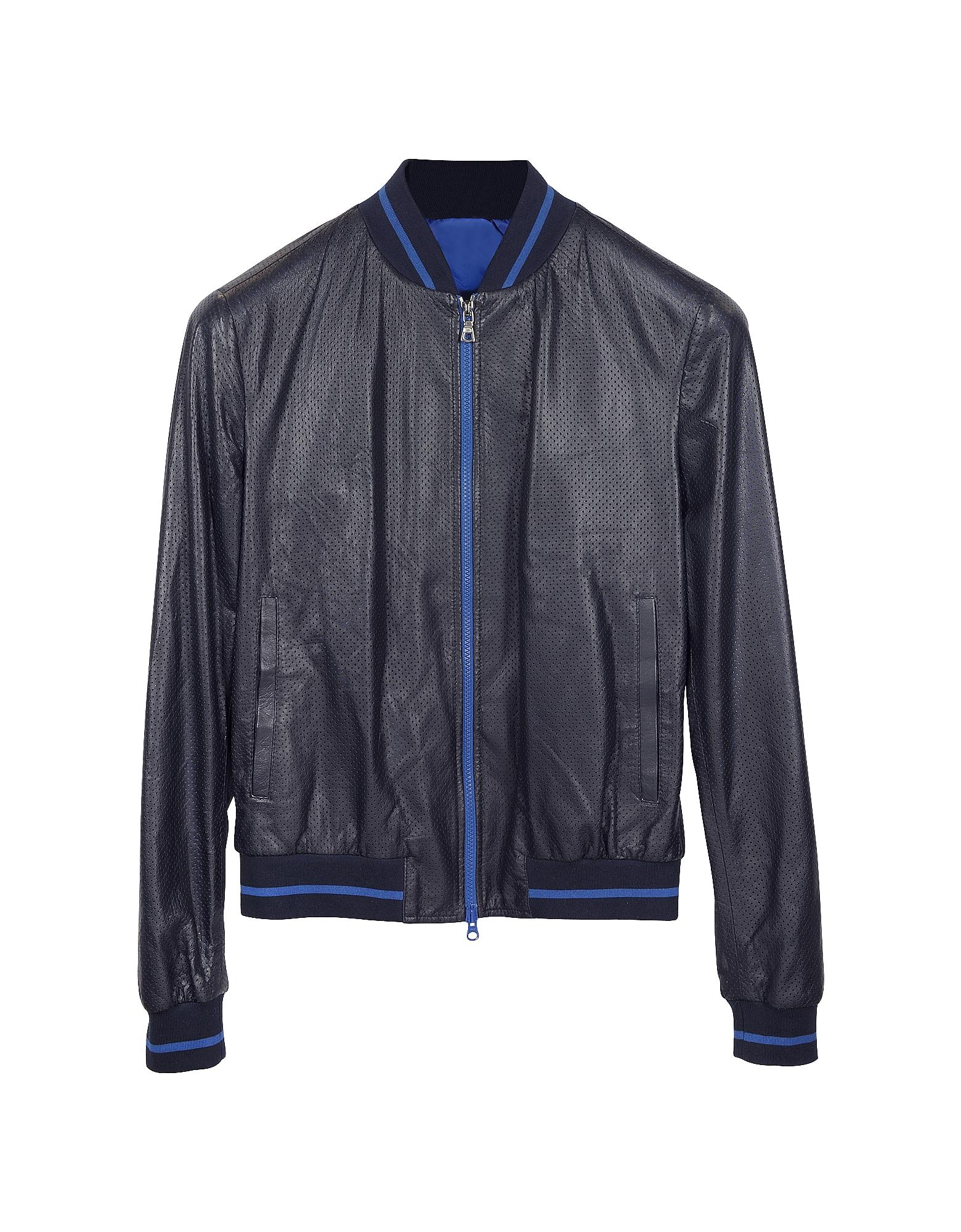 Forzieri Роскошная Темно-синяя Мужская Куртка с Капюшоном