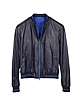 Navy Blue Perforated Leather Men's Jacket - Forzieri