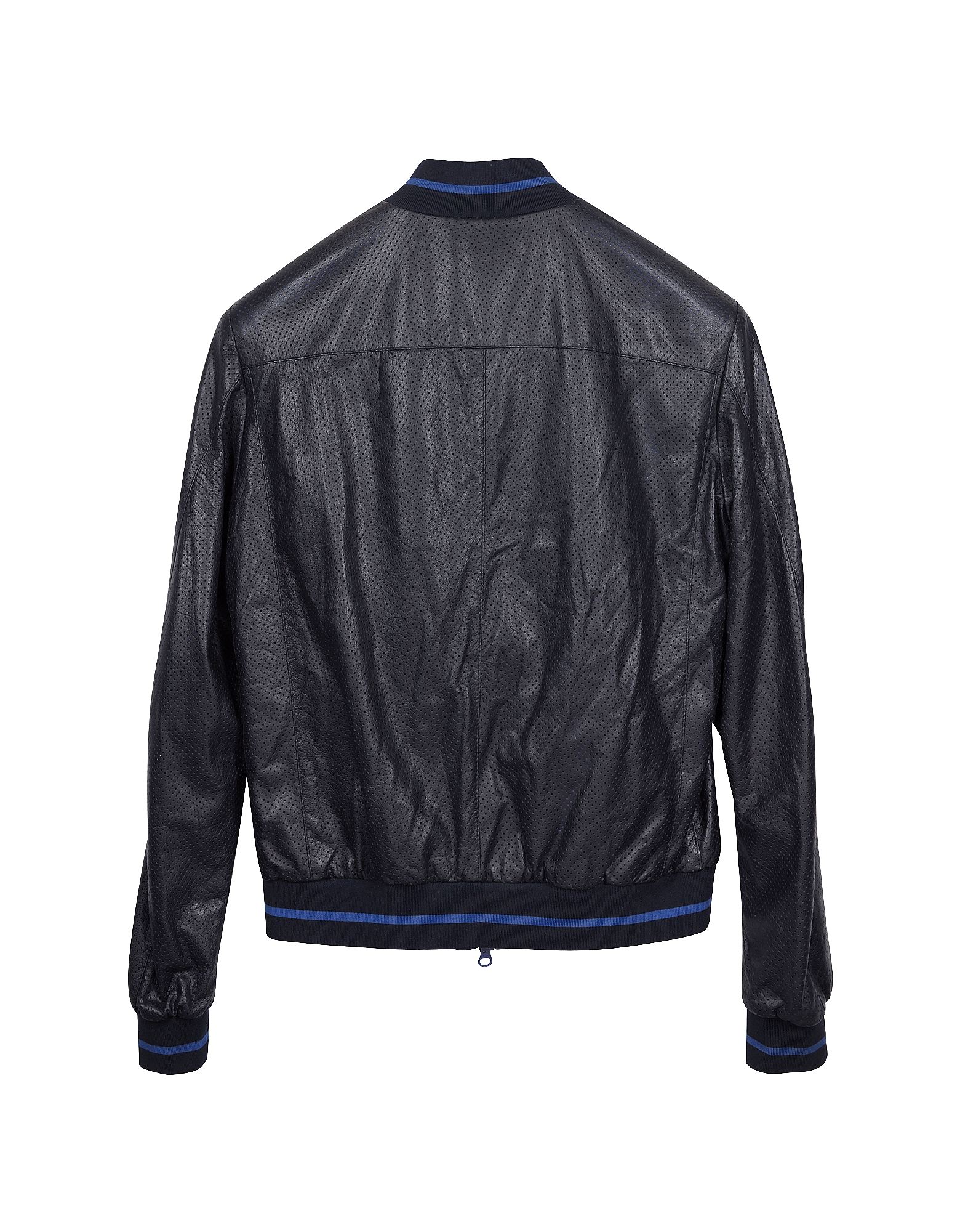Navy Blue Perforated Leather Men's Jacket от Forzieri.com INT