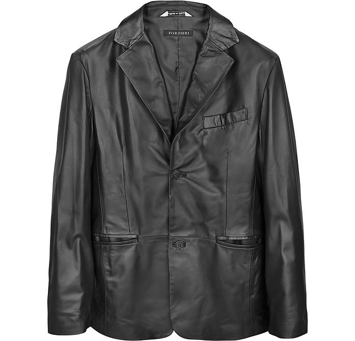 Black Leather Men's Blazer - Forzieri