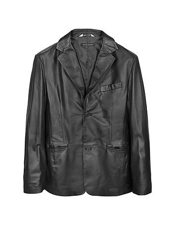 Forzieri - Black Leather Men's Blazer