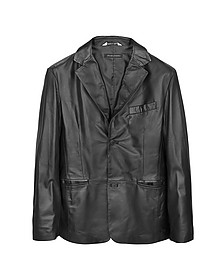 Black Leather Men's Blazer - Forzieri