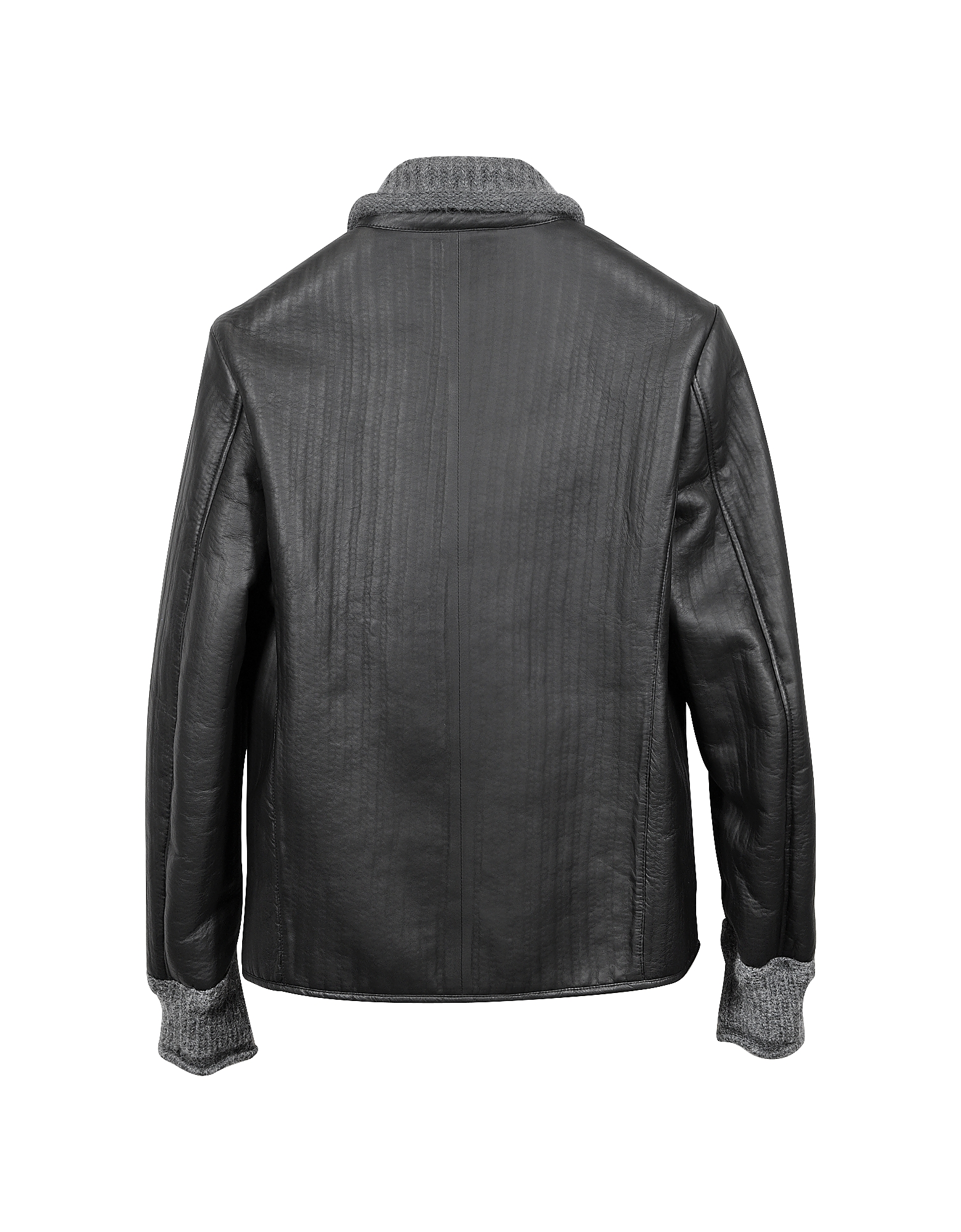 Men's Black and Gray Wool Leather Motorcycle Zip Jacket от Forzieri.com INT