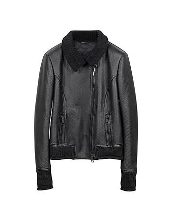 Women's Black Leather And Mix Media Jacket