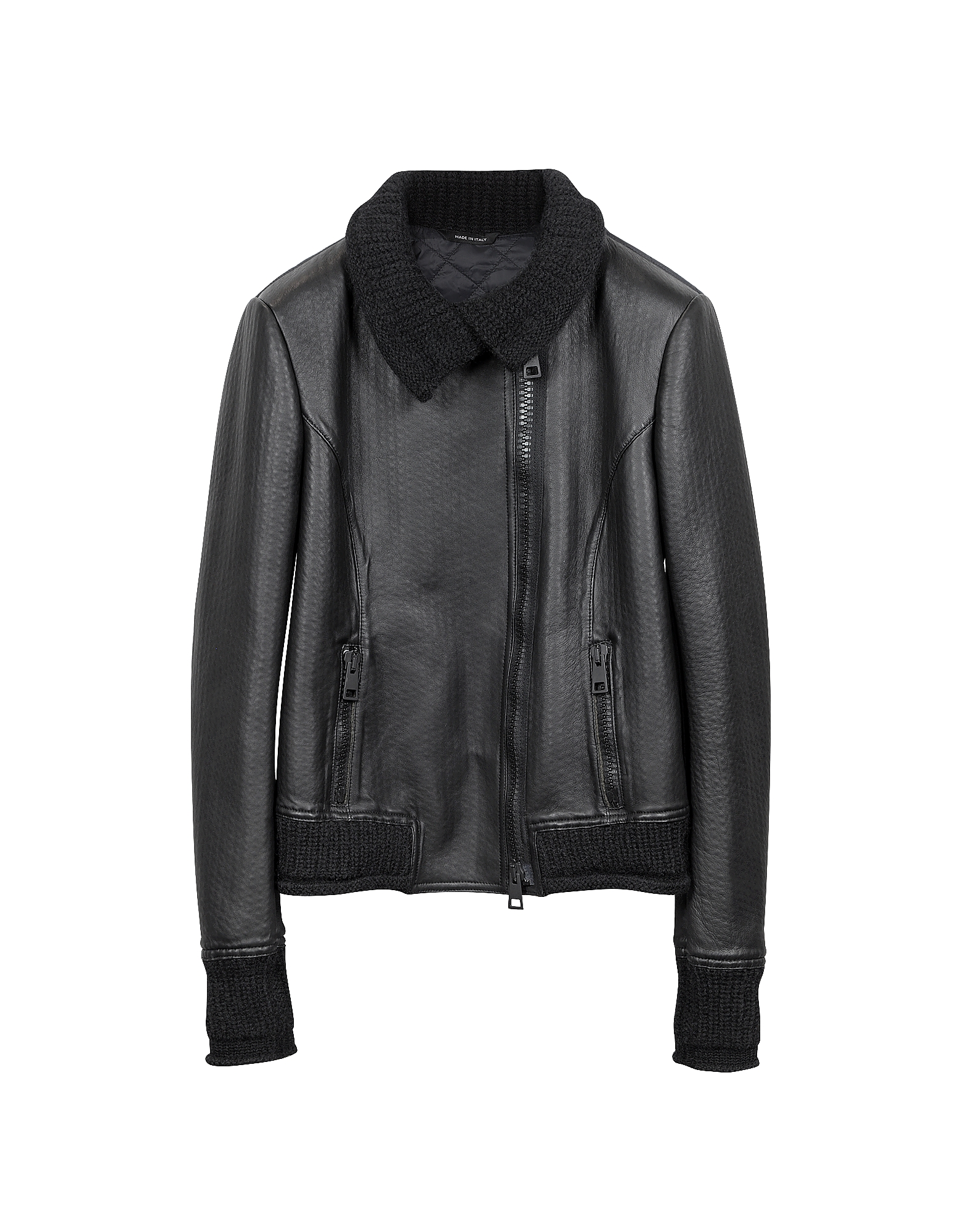 Forzieri Leather Jackets, Women's Black Leather And Mix Media Jacket
