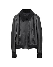 Women's Black Leather And Mix Media Jacket - Forzieri