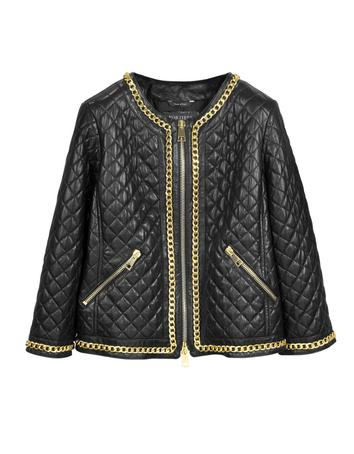 Lux-ID 271482 Black Quilted Leather w/Gold Tone Chain Women's Jacket
