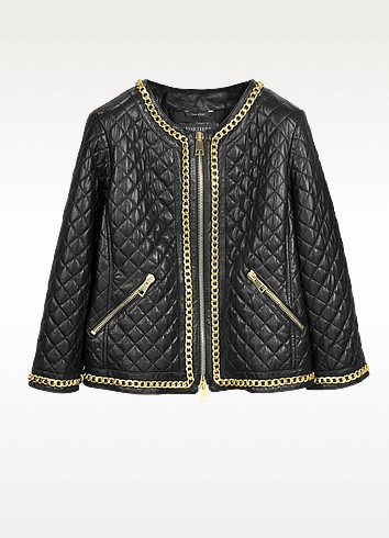 Black Quilted Leather w/Gold Tone Chain Women's Jacket - Forzieri
