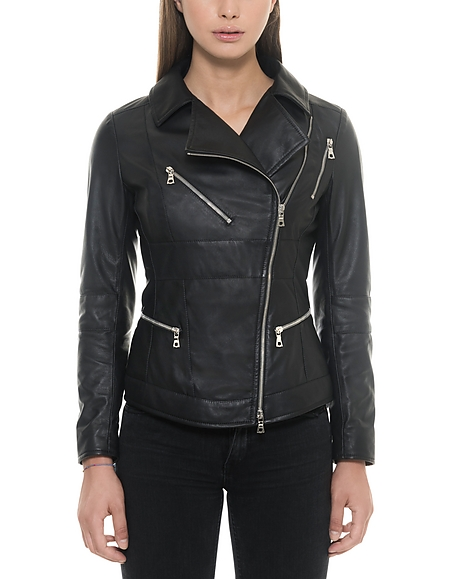 Forzieri Black Leather Womens Biker Jacket
