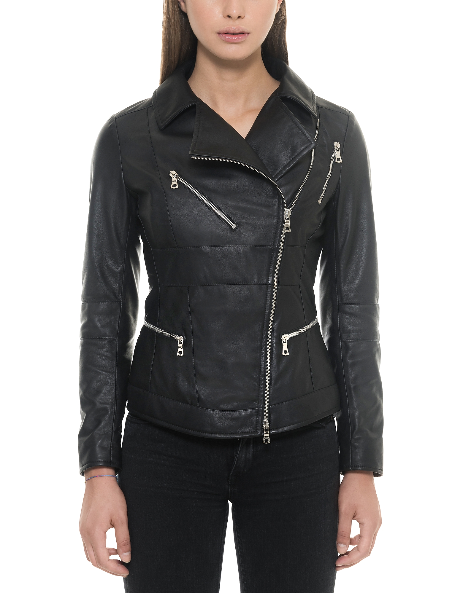 Forzieri Leather Jackets, Black Leather Women's Biker Jacket