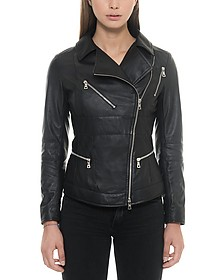 Black Leather Women's Biker Jacket - Forzieri