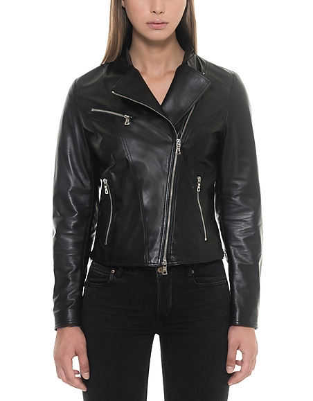 Forzieri Asymmetrical Zip Black Leather Womens Jacket