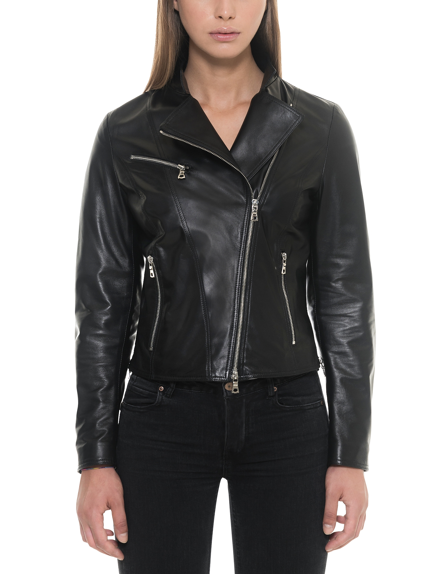 Forzieri Leather Jackets, Asymmetrical Zip Black Leather Women's Jacket